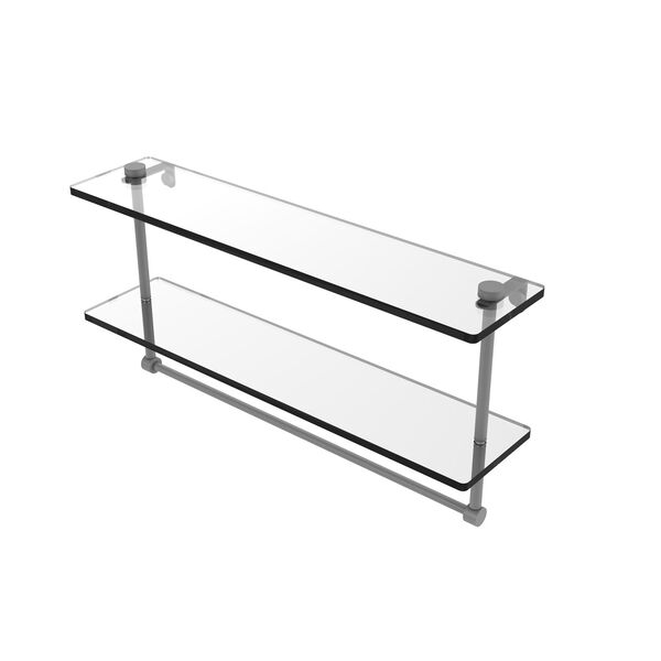 Matte Gray 22-Inch Two Tiered Glass Shelf with Integrated Towel Bar, image 1