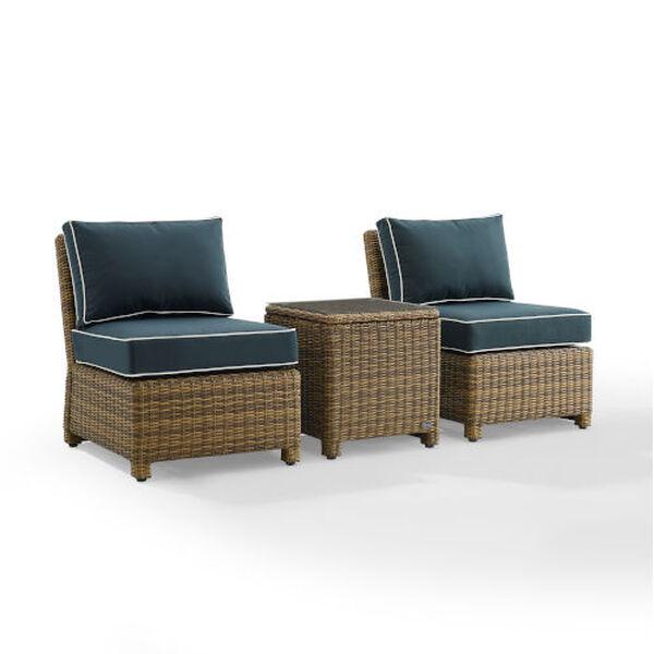 Bradenton Navy Weathered Brown Three-Piece Outdoor Wicker Chair Set, image 6