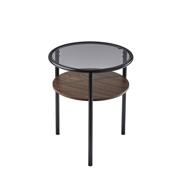 Gavin Black and Walnut Two-Tiered End Table, image 1