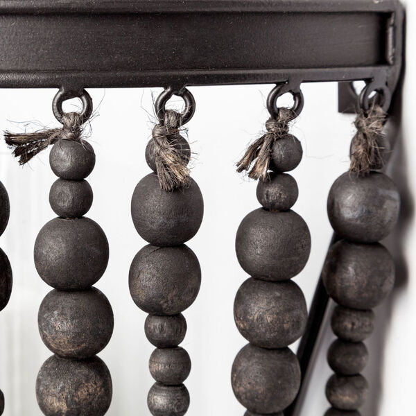 Liam II Black Wall Candle Holder with Wooden Bead, image 5