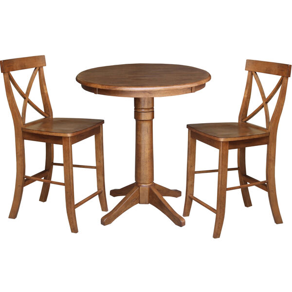 Distressed Oak 30-Inch Round Pedestal Gathering Table with Two X-Back Counter Height Stool, Set of Three, image 2