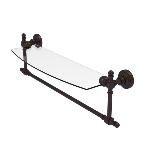 Retro Wave Antique Bronze 18-Inch Glass Vanity Shelf with Integrated Towel Bar, image 1