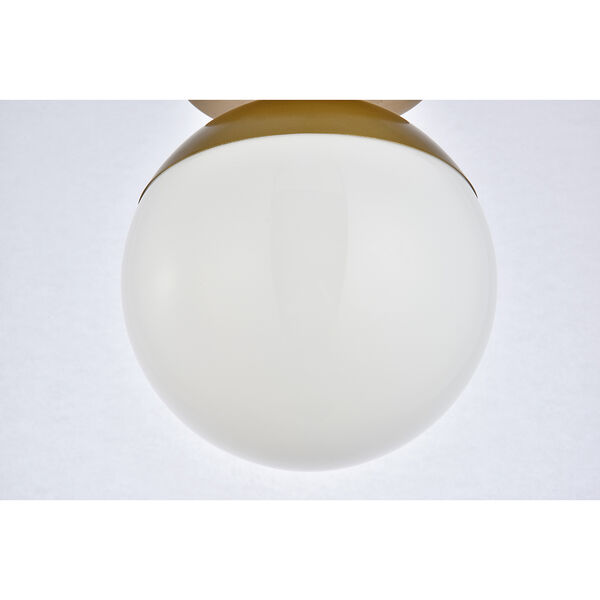 Eclipse Brass and Frosted White Eight-Inch One-Light Semi-Flush Mount, image 5