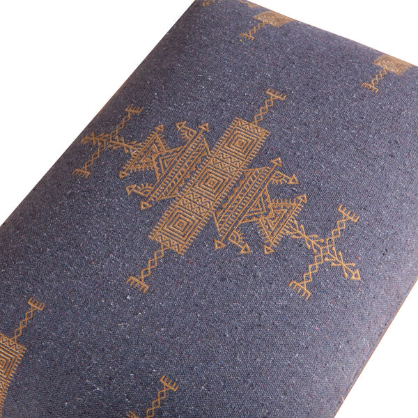 Algiers Blue and Brown Upholstered Stool, image 3