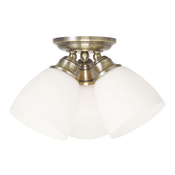 Somerville Antique Brass 14.5-Inch Three-Light Semi Flush Mount, image 1