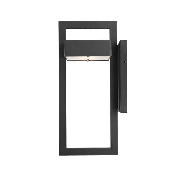 Luttrel Black 15-Inch LED Outdoor Wall Sconce with Frosted Glass, image 4