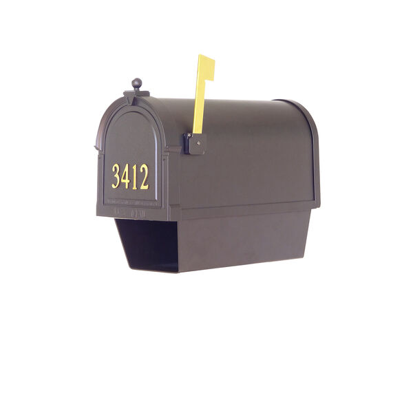 Curbside Black Mailbox with Front Address Number and Floral Front Single Mounting Bracket, image 6