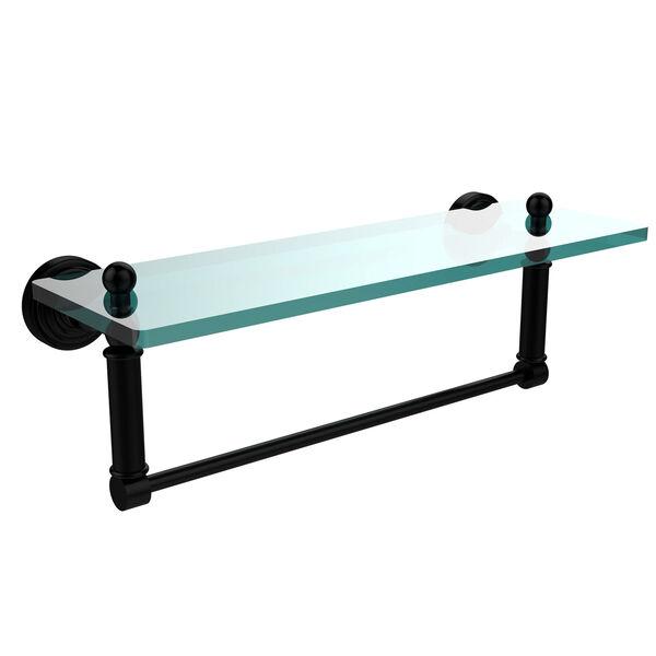 Waverly Place Matte Black 16x5 Glass Shelf w/ Towel Bar, image 1