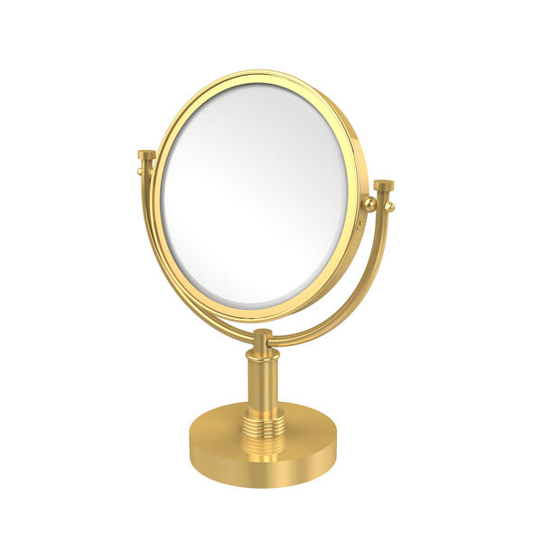 8 Inch Vanity Top Make-Up Mirror 2X Magnification, Polished Brass, image 1