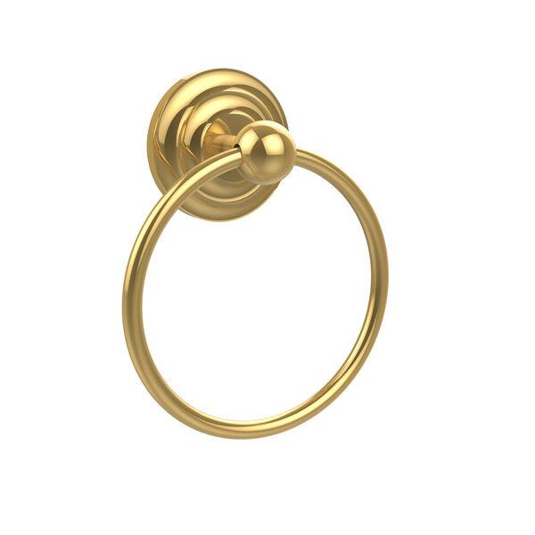 Prestige Que-New Polished Brass Towel Ring, image 1