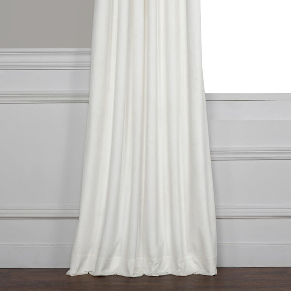 White 108 x 50 In. Plush Velvet Curtain Single Panel, image 10