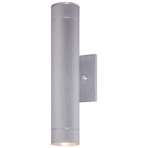 Skyline Brushed Aluminum Two-Light Outdoor LED Wall Mount, image 1