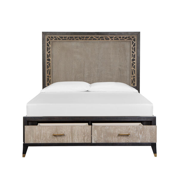 Ryker Nocturn Black and Coventry Gray Complete Queen Panel Storage Bed, image 3