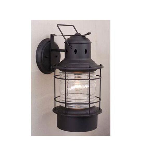 Hyannis Textured Black 8-Inch Outdoor Wall Light, image 1