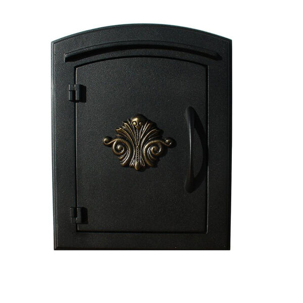 Manchester Black Security Option with Decorative Scroll Door Manchester Faceplate - (Open Box), image 1