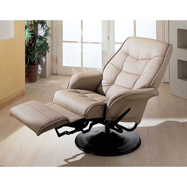 Berri Beige Swivel Recliner with Flared Arms, image 2