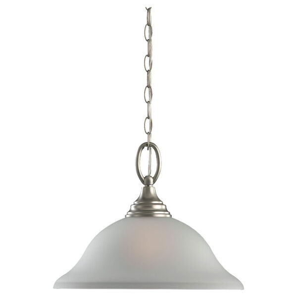 Wheaton One-Light Brushed Nickel Pendant with Satin EtchedGlass, image 1