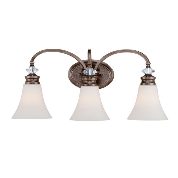 Boulevard Mocha Bronze and Silver Accent 24-Inch Three-Light Vanity Wall Light, image 1