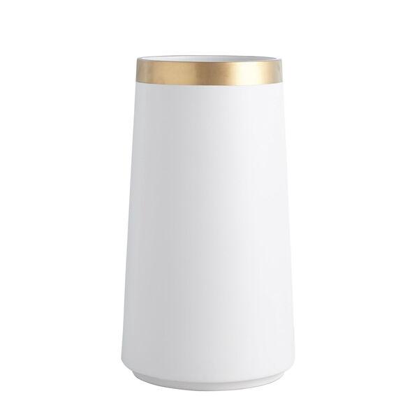 Studio A Home White Large Modern Gold Banded Vase, image 5