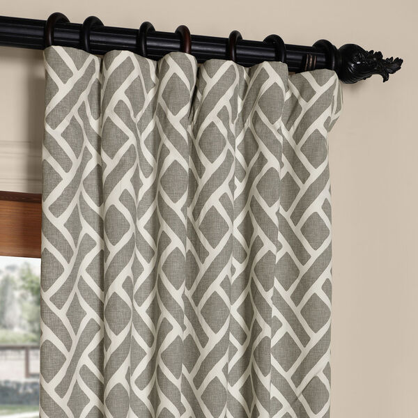 Martinique Grey 84 in. x 50 in. Printed Cotton Curtain Panel, image 2
