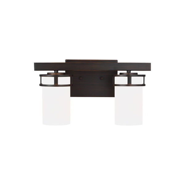 Robie Bronze Two-Light Bath Vanity with Etched White Inside Shade, image 1