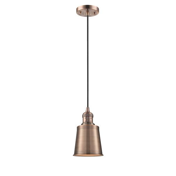 Addison Antique Copper Five-Inch One-Light Mini Pendant with Black Cord, image 1