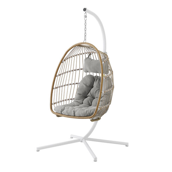 Brown and Gray Outdoor Swing Egg Chair with Stand, image 4