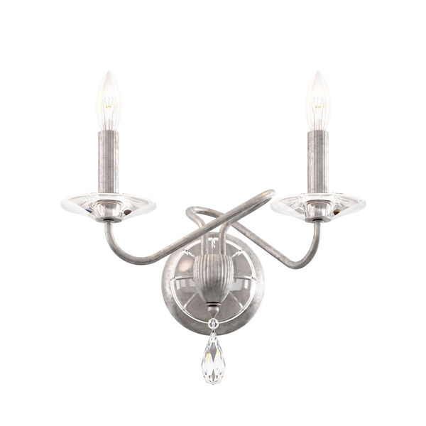 Arabesque Antique Silver Two-Light Wall Sconce with Clear Heritage Crystal, image 1