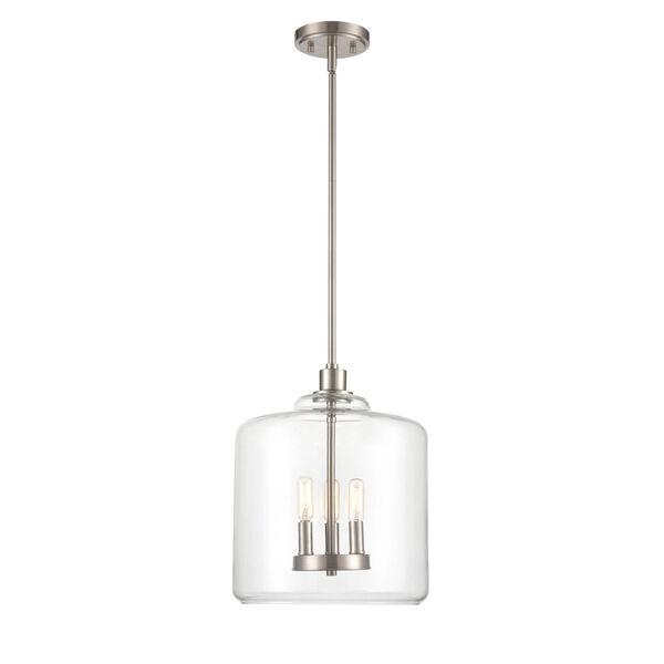 Asheville Satin Nickel Three-Light Pendant With Transparent Glass, image 1
