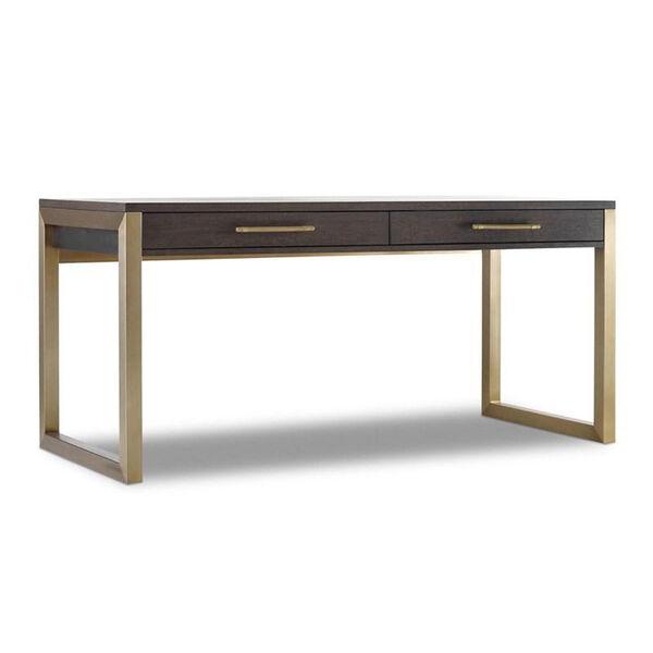 Curata Dark Wood and Gold Short Left, Right, Freestanding Desk, image 1