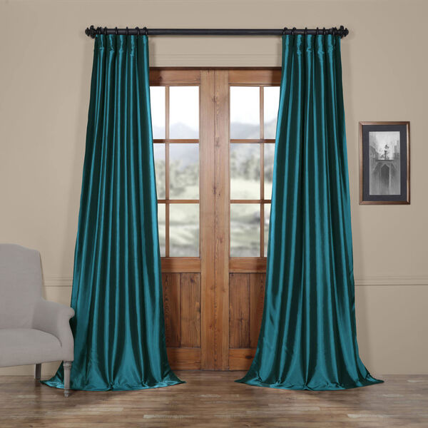 Mediterranean Faux Silk Taffeta Single Panel Curtain, 50 X 120, image 1