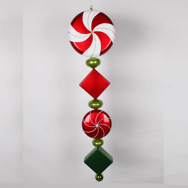 Red and Lime 45-Inch Check Jumbo Finial Ornament, image 1