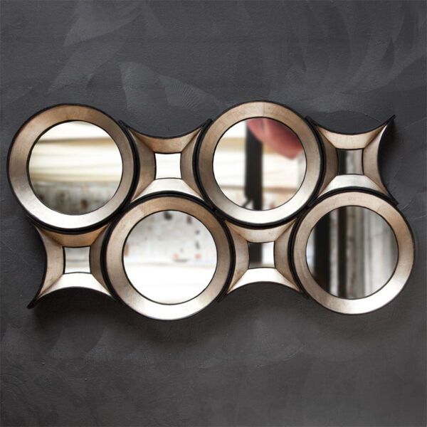 Ovallas Champagne Round Wood Frame Wall Mirror, image 4