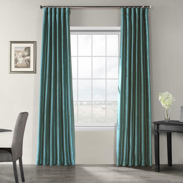 Peacock Vintage Textured Faux Dupioni Silk Single Panel Curtain, 50 X 108, image 1