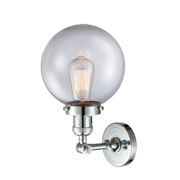 Franklin Restoration Polished Chrome Eight-Inch LED Wall Sconce with Clear Glass Shade, image 2