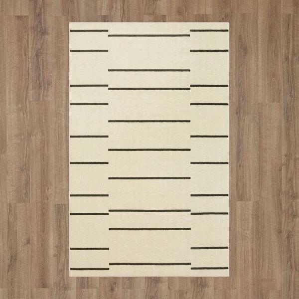 Kenza Ivory Linen Striped Rectangular: 2 Ft. x 3 Ft. Area Rug, image 2