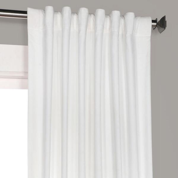 White 108 x 50 In. Plush Velvet Curtain Single Panel, image 9