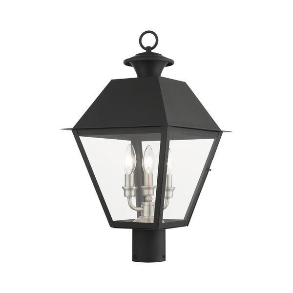 Mansfield Black Three-Light Outdoor Post Lantern, image 1