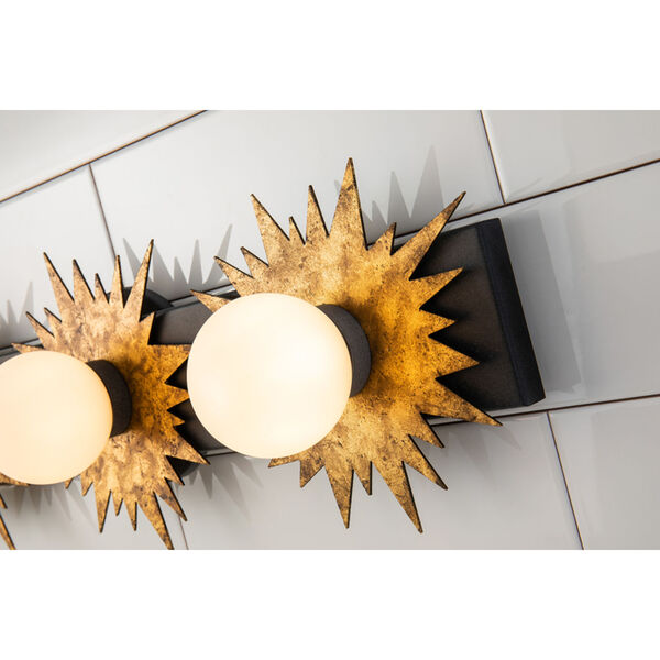 Soleil Weather Zinc Gold Leaf with Antique Three-Light LED Bath Vanity, image 3