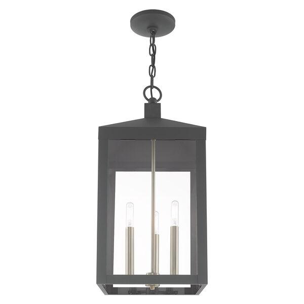Nyack Scandinavian Gray 11-Inch Three-Light Pendant Lantern, image 4