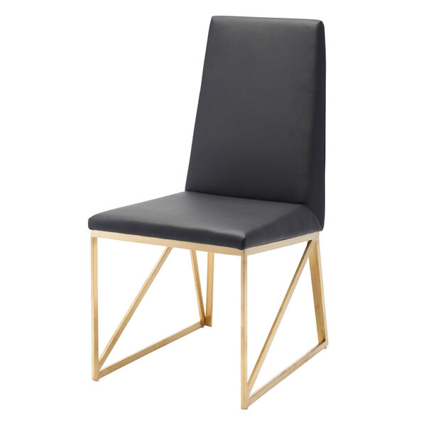 Caprice Black and Brushed Gold Dining Chair, image 4