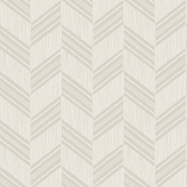 Boho Rhapsody Cinder Gray and Ivory Boho Chevron Stripe Unpasted Wallpaper, image 2