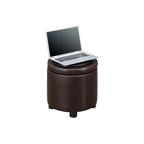Designs4Comfort Espresso Round Accent Storage Ottoman, image 5