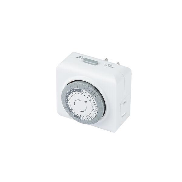 White Mechanical Timer for Landscape Power Supply, image 1