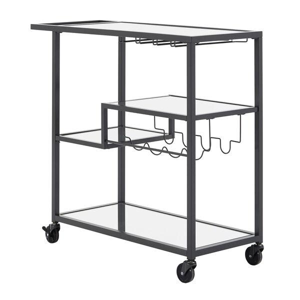 Juan Black Glass Top Metal Bar Cart, image 2