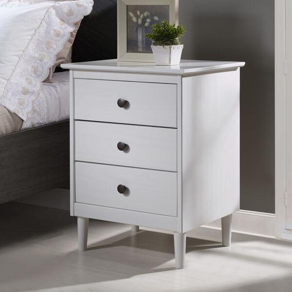 White Three Drawer Nightstand, image 1