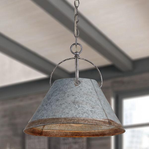 Alvin Antique Galvanized Metal Cone One-Light Pendant, image 3