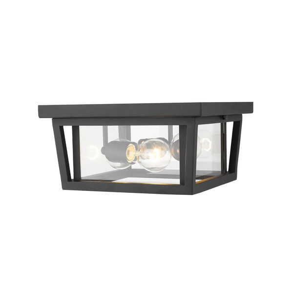 Seoul Black Three-Light Outdoor Flush Ceiling Mount Fixture With Transparent Glass, image 4