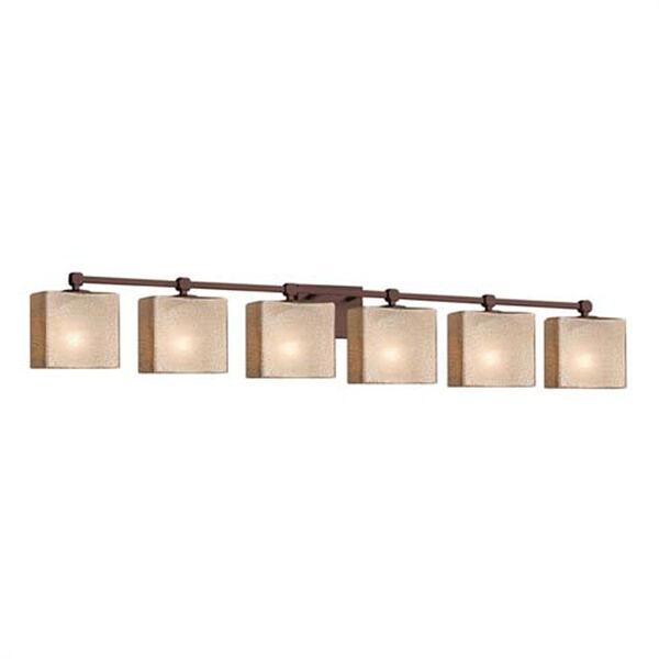 Fusion - Tetra Matte Black Six-Light Bath Bar with Rectangle Opal Shade, image 1