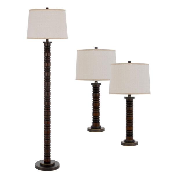 Northfield Wood Three-Light LED Table and Floor Lamp, Set of Three, image 1